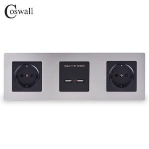 Image 1 - COSWALL panneau mural en acier inoxydable, Double prise 16a ue, sortie électrique, Double Port de recharge intelligent USB, 5V, 2a, couleur noire