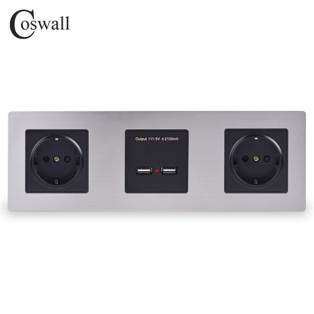 COSWALL panneau mural en acier inoxydable, Double prise 16a ue, sortie électrique, Double Port de recharge intelligent USB, 5V, 2a, couleur noire