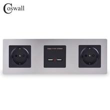 Coswall Muur Roestvrij Stalen Paneel Dubbele Socket 16A Eu Stopcontact Dual Usb Smart Poort Opladen 5V 2A Uitgang zwarte Kleur