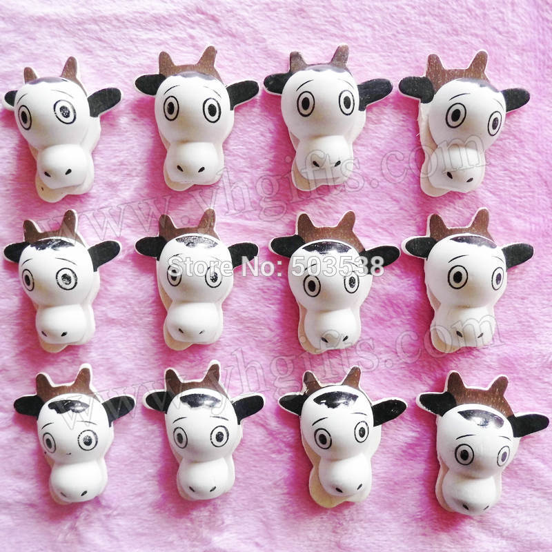 500PCS/LOT.Wood cow stickers,3x3.3cm.Kids toys,scrapbooking kit,Early educational DIY.Kindergarten crafts.Classic toy