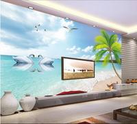 Large HD 3d Palm Beach Murals Wallpaper Custom 3d Wallpaper Sticker Romantic Swan Lake Non Woven