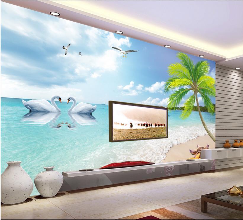 Online get cheap beach wallpaper hd for Beach wall mural cheap