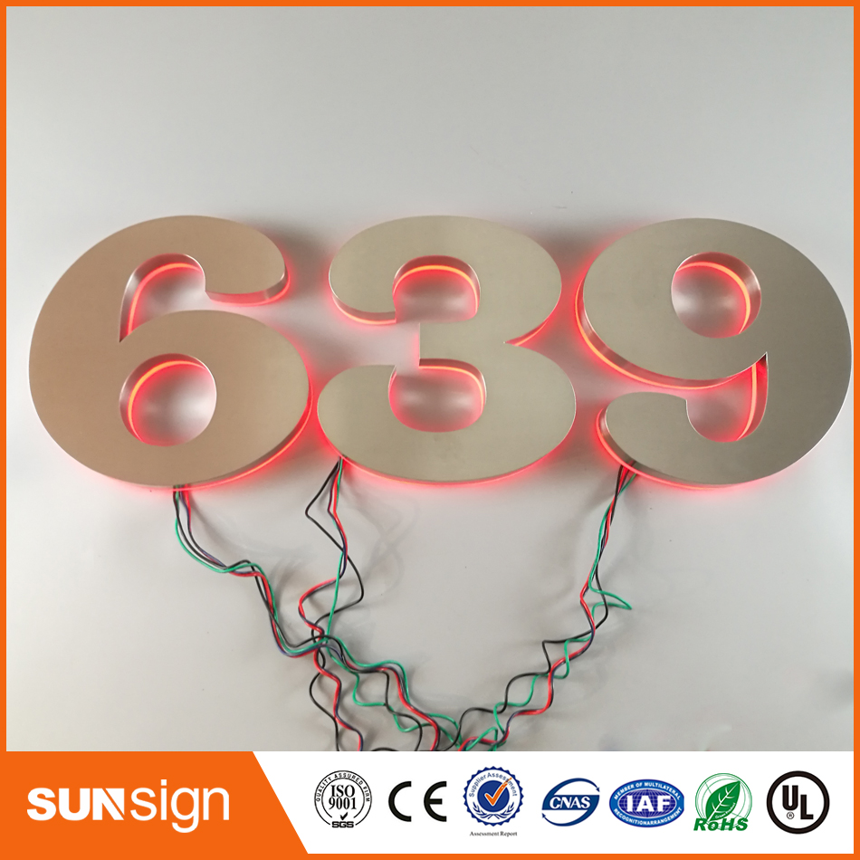 Custom Brushed Stainless Steel Letters LED Backlit Led Numbers 3d