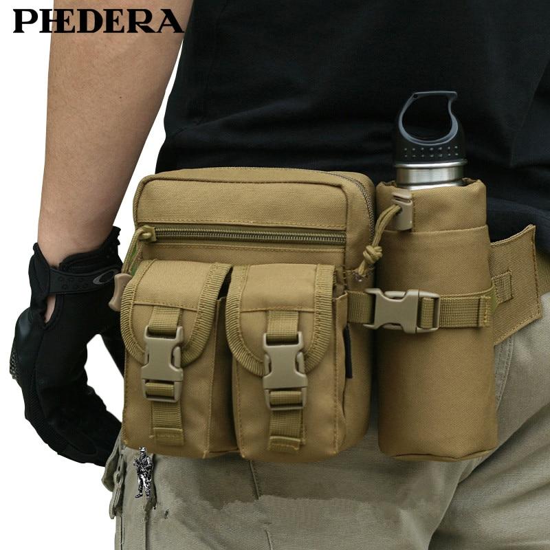 Új utazási álcázó táskák katonai nők férfiak derék táska csomagok palacktartóval szabadtéri férfiak nylon levehető övtáska