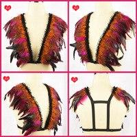 Harajuku spitze federflügel epaulette pastell goth auffanggurt, schwarze Feder flügel auffanggurt käfig bh harness