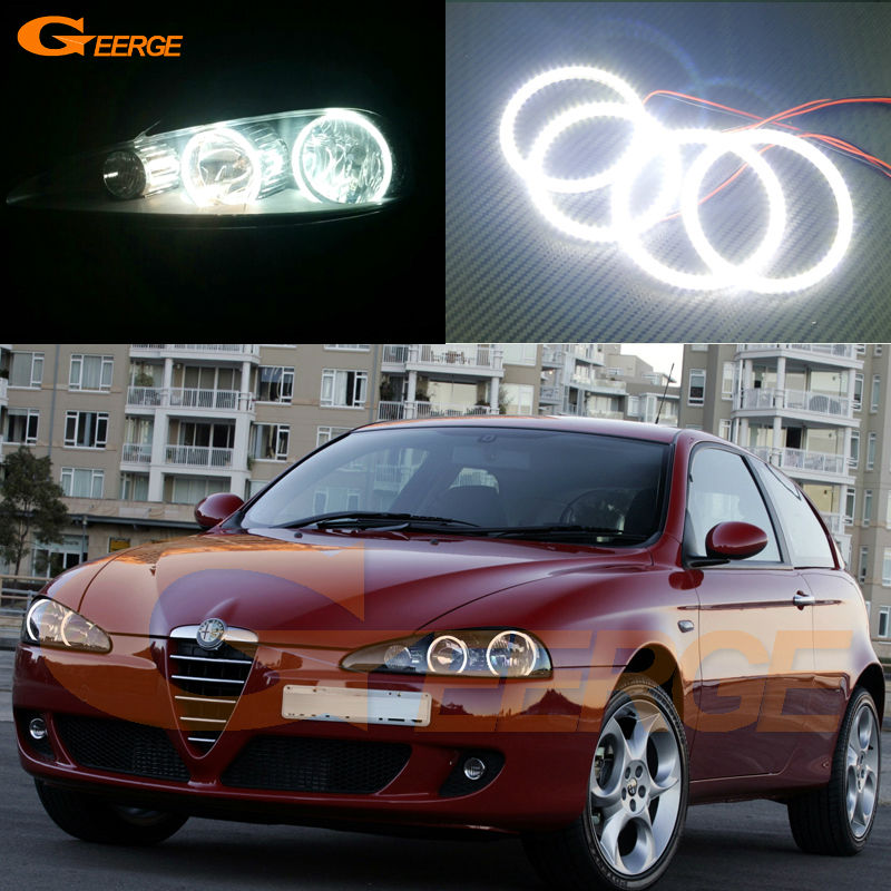 For Alfa Romeo 147 2005 2006 2007 2008 2009 2010 Excellent angel eyes Ultra bright illumination smd led Angel Eyes Halo Ring kit