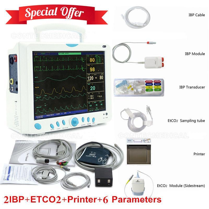 CONTEC CCU ICU Patient Monitor 6 Paramters Vital Signs Monitor ETCO2+2 IBP+Printer thermal printer free 1 printer paper for contec multi parameter patient monitor