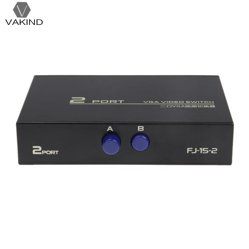 130MHz 1 to 2 Monitor Switch VGA Video Switch Splitter VGA Switcher Converter Adapter Box Connect 2 Monitors/PC to 1 Monitor newest 1 male vga to 2 female vga splitter cable 2 way vga svga monitor dual video graphic lcd tft y splitter cable lead