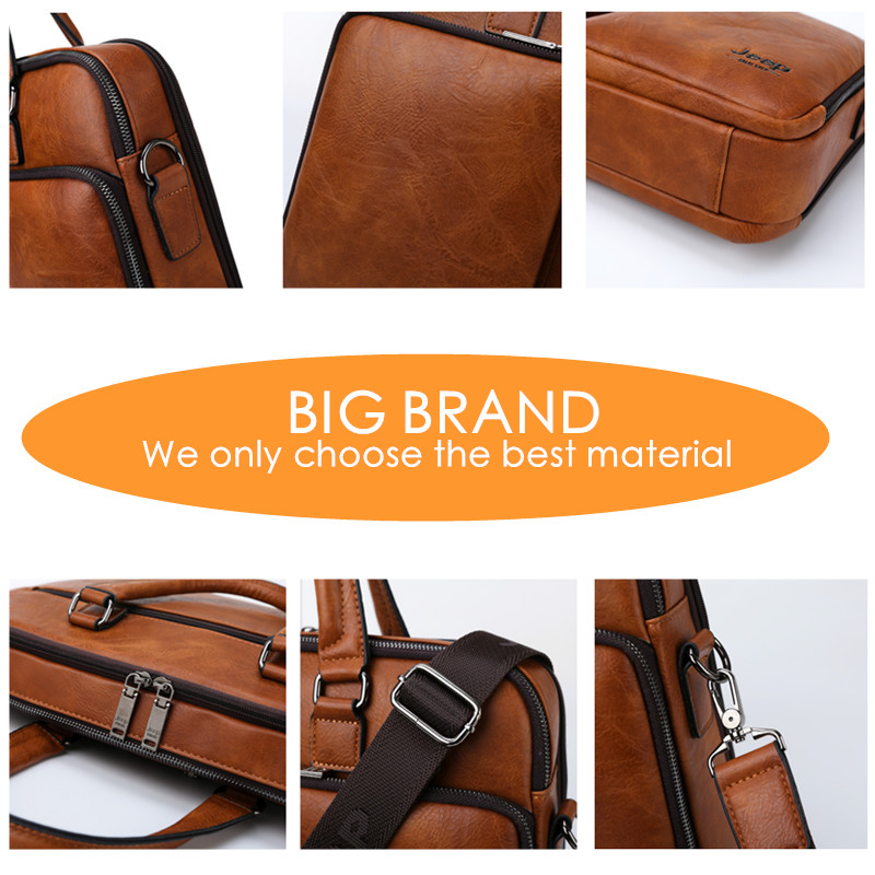 Image 4 - JEEP BULUO Brand Man Briefcase Large Capacity Leather Casual  Shoulder Bag For Men Laptop Business Bags Handbags High end  NewBriefcases