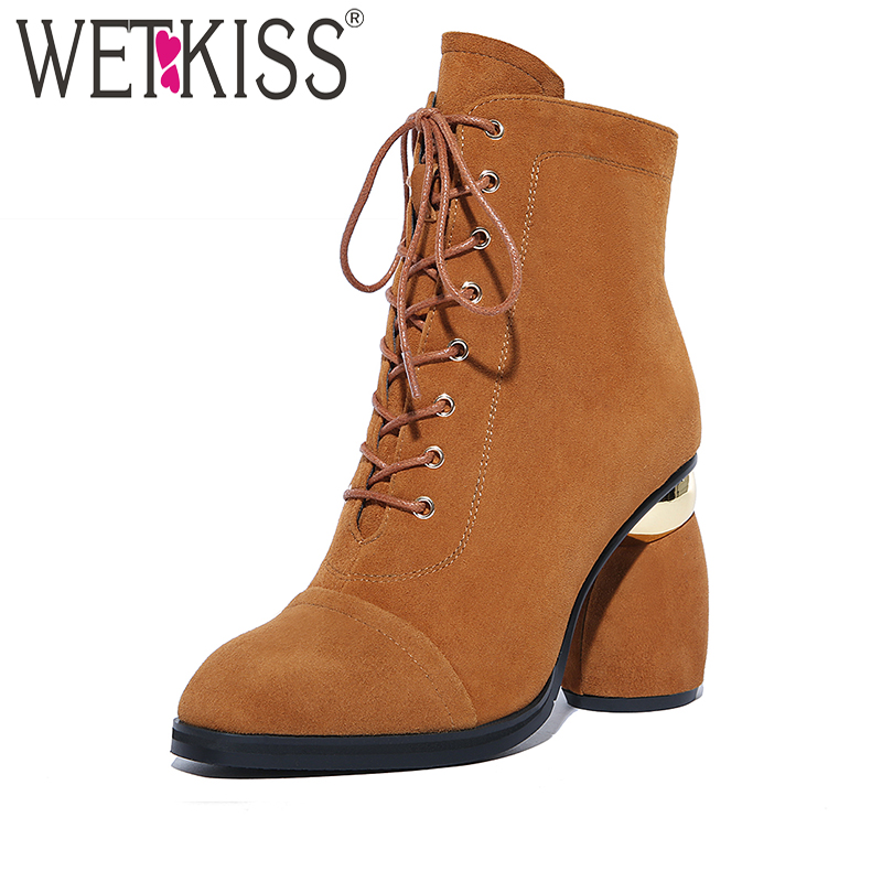 WETKISS Cross Tied Ankle Boots Genuine Leather Suede Winter Boots Spring Strange High Heels Shoes Women Designers Zip Shoes 2018