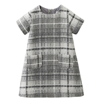 Girls Dress 2017 Brand Autumn Girls Clothes O neck Plaid Pocket Design for Children Clothing 3 7Y Princess Dresses