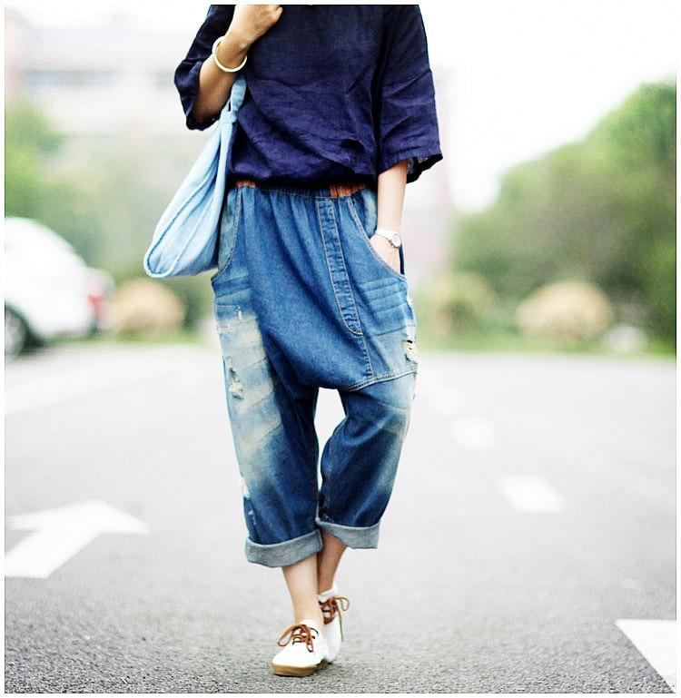 Mode Ny Plus Storlek Pojkvän Jeans Kvinnor Bred Ben Jeans Harem Byxor Capris Byxor