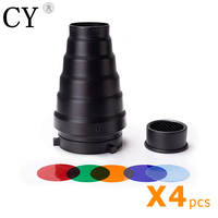 4 Pcs Photography Snoot Honeycomb For Bowens Mount Flash Strobe Conical Snoot Honeycomb Snoot Wholesales PSCB3