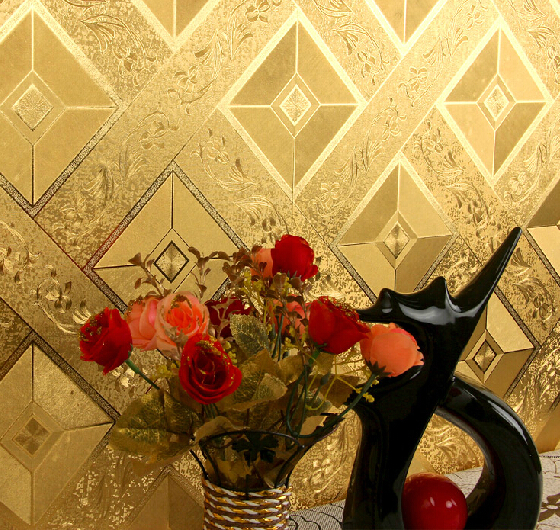 Luxury Reflective Plaid Floral Wallpaper 3D Embossed Gold Foil Wallpaper Waterproof TV Ceiling Wallpaper Roll Gold Wall Paper