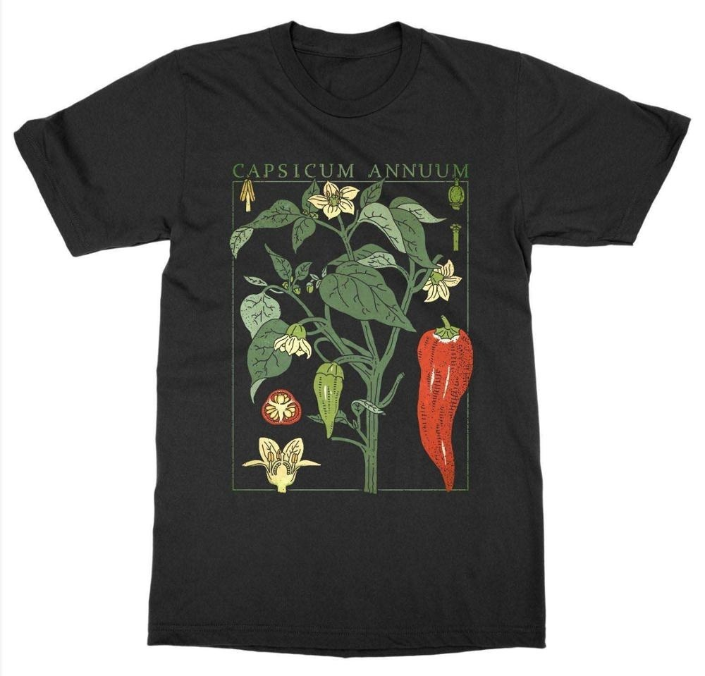 Kuakuayu HJN Chili Pepper Plant T-Shirt Botanical Garden Print Art Botany Bloom Fruit Flower T Shirt