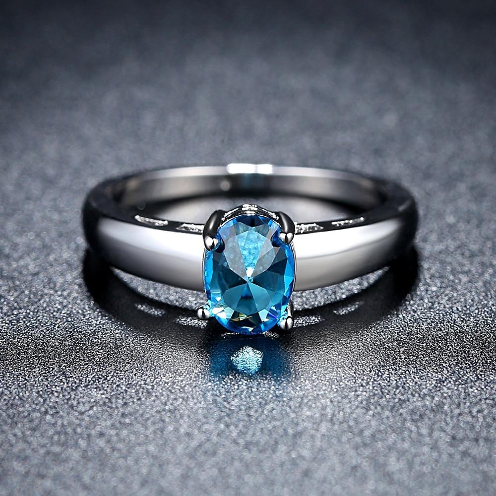 925 jewelry silver Ring For Women Bridal Wedding Trendy Jewellery blue Zircon simple KBJNSCOF