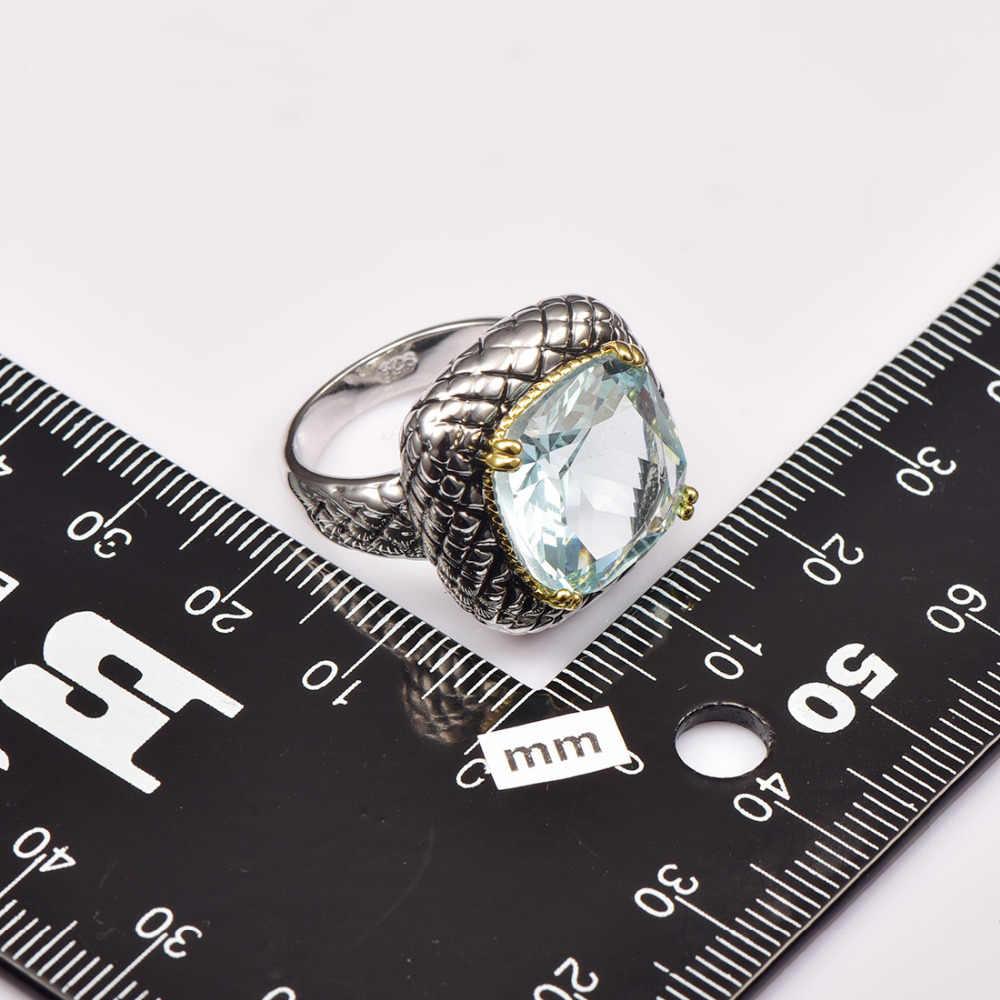 จำลองA Quamarine 925โรงงานสเตอร์ลิงแหวนเงินราคาสำหรับผู้หญิงและผู้ชายขนาด6 7 8 9 10 11 F1516