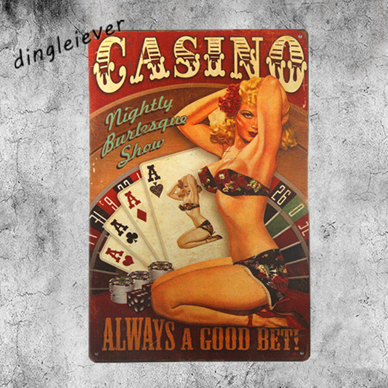 Casino always a good bet Vintage Metal Sign Wall Sticker For Drink bar Pub Cafe Home Wall Decor Art Poster
