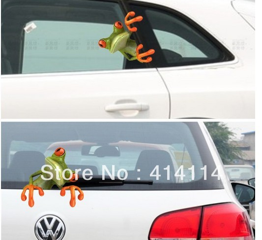 New hot sale 3d three dimensional frog car stickers personality sticker rear view mirror garland back side home body bathroom