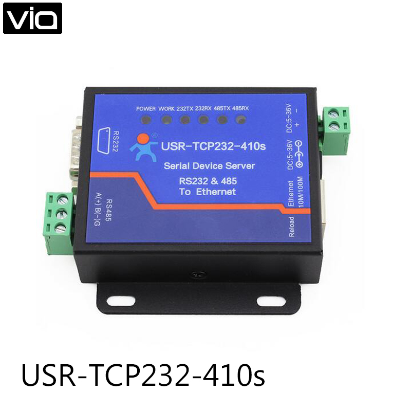 USR-TCP232-410S Free Shipping Terminal Power Supply RS232 RS485 to TCP/IP Converter Serial Ethernet Serial Device Server usr tcp232 410s serial device server rs232 rs485 to ethernet tcp converter with cts rts 2pcs lot