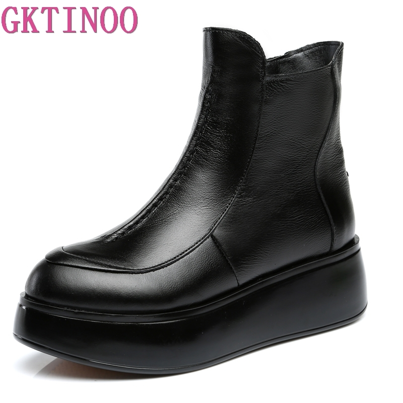 GKTINOO Autumn Winter Round Toe Women Genuine Leather Boots Women Winter Warm Platform Ankle Boots Wedges Shoes Woman
