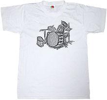 DRUM KIT T-SHIRT 100% COTTON MUSIC DRUMMER HEAVY ROCK METAL SKETCH ART T SHIRT New Shirts Funny Tops Tee Unisex