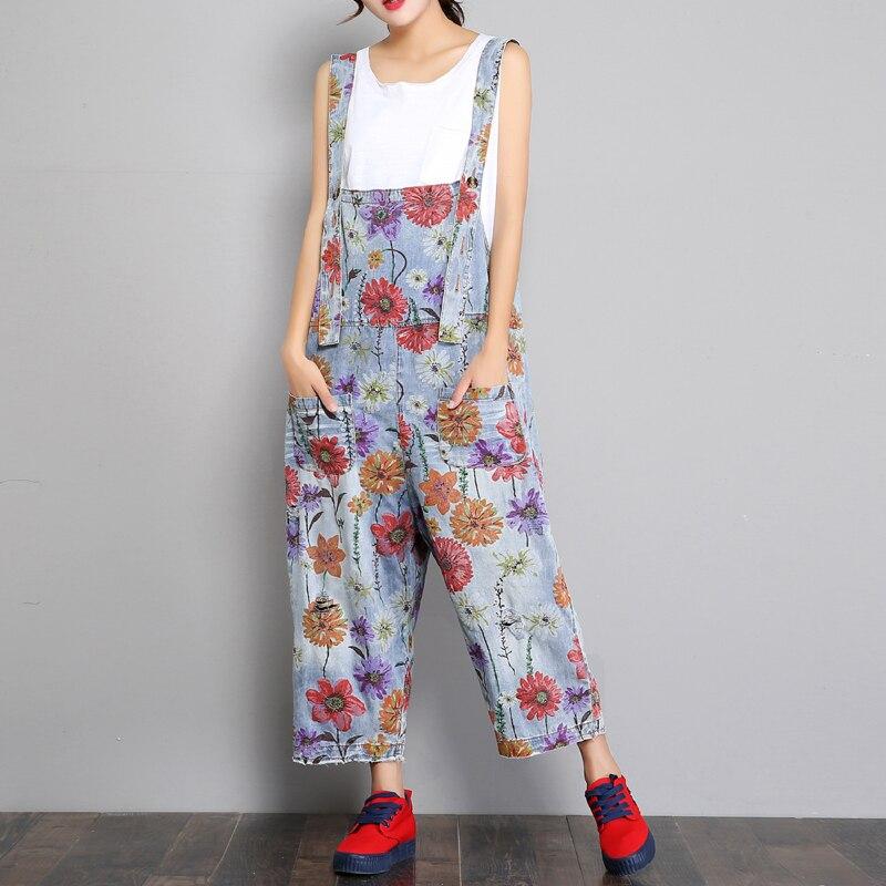 Fleur Denim Salopette de Femmes Jambe Large Pantalon Lâche Jeans Lavé Impression Floral Déchiré Salopette