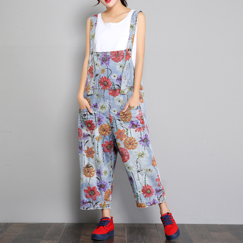Flower Denim Overalls Women's Wide Leg Pants Loose   Jeans   Washed Print Floral Ripped Overalls