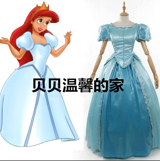 The Little Mermaid Ariel Princess Blue Fancy Dress Cosplay Costume For Adult Women Halloween Custom Made