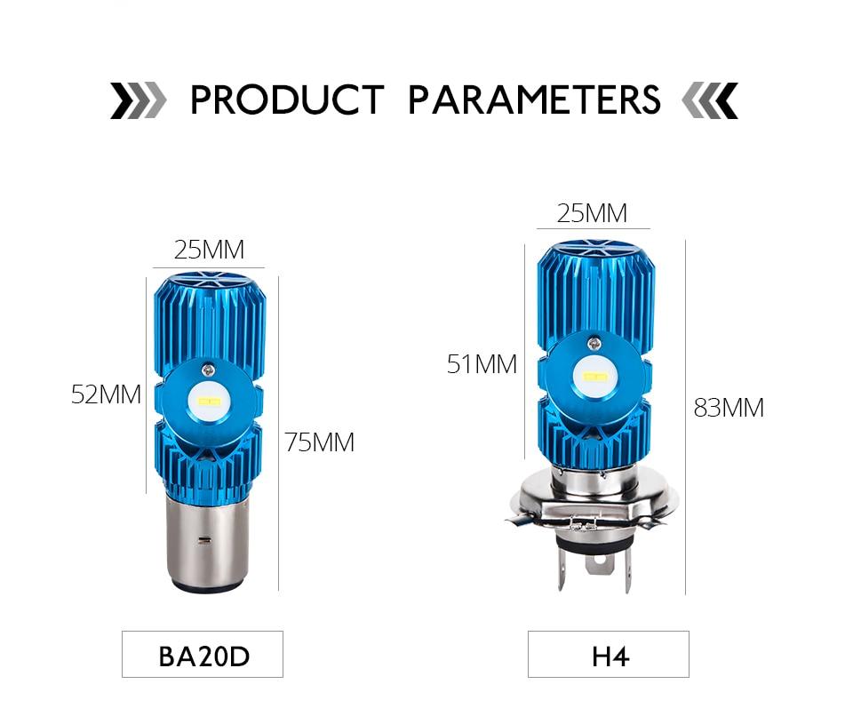 VooVoo H4 LED Motorcycle Lights BA20D LED Moto Headlight Bulbs 2400LM 6000K 20W HS1 Led Motorbike Electric Car Headlamp Lighting (2)