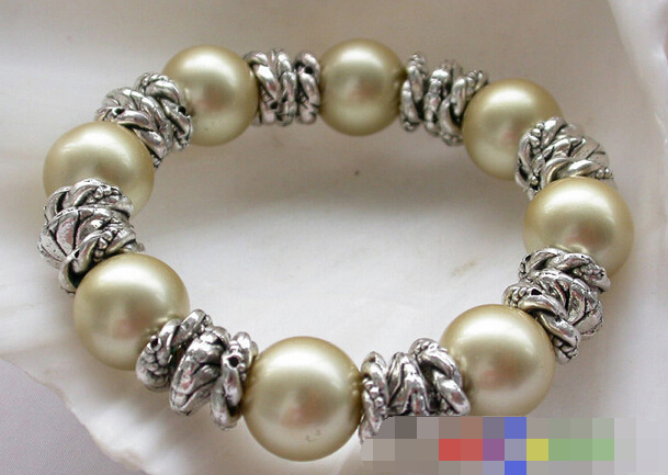 free shipping 09771 golden round SHELL PEARL bracelet