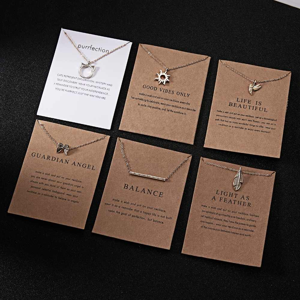 Rinhoo 10*7.5cm Paper Card Glod Zinc Alloy Long Chain Pendant Necklace Women Fashion Exquisite Jewelry Gift