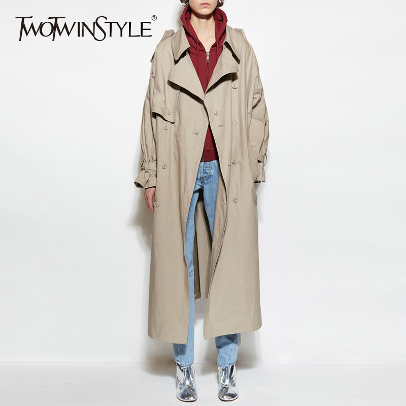 TWOTWINSTYLE Sashes Windbreaker For Women Double Breasted Patchwork High Waist Pocket Long Trench Coat Female 2018 Spring OL New