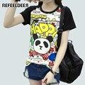 Refeeldeer T Shirt Women 2017 Summer Short Sleeve Panda Print T-shirt Female Plus Size Cute Tshirt Graphic Tops Tee Shirt Femme