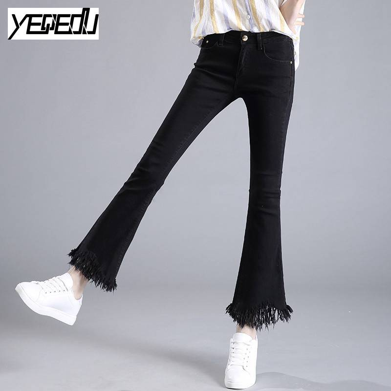1704 2017 Spring summer Elastic cotton Black jeans women Tassel Flare jeans Slim High waisted