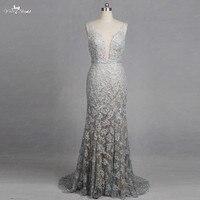 RSW1266 V Neck Mermaid Wedding Dresses Lace Appliques Backless Glitter Silver Wedding Dresses