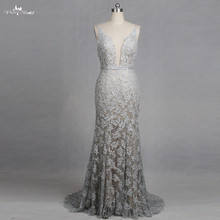 Buy wedding dresses silver and get free shipping on aliexpress rsw1266 v neck mermaid wedding dresses lace appliques backless glitter silver wedding dresseschina junglespirit Gallery