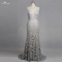 RSW1266 V Neck Mermaid Wedding Dresses Lace Appliques Backless Glitter Silver Wedding Dresses