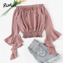 050292e96ab72 ROMWE Pink Bow Off Shoulder Flounce Sleeve Shirred Hem Top Summer Casual Plain  Crop Clothing Half Sleeve Female Holiday Blouse