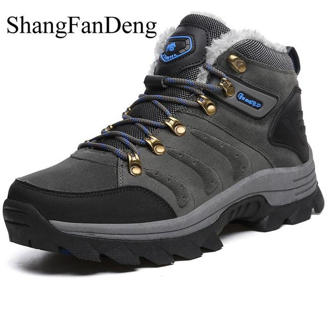 ShangFanDeng New Men Boots for Men Winter Snow Boots Warm Fur&Plush Lace Up High Top Fashion Men Shoes Sneakers Boots Anti-Skid