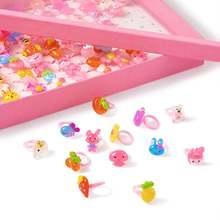 100 шт Детские кольца в виде цветов и сердечек