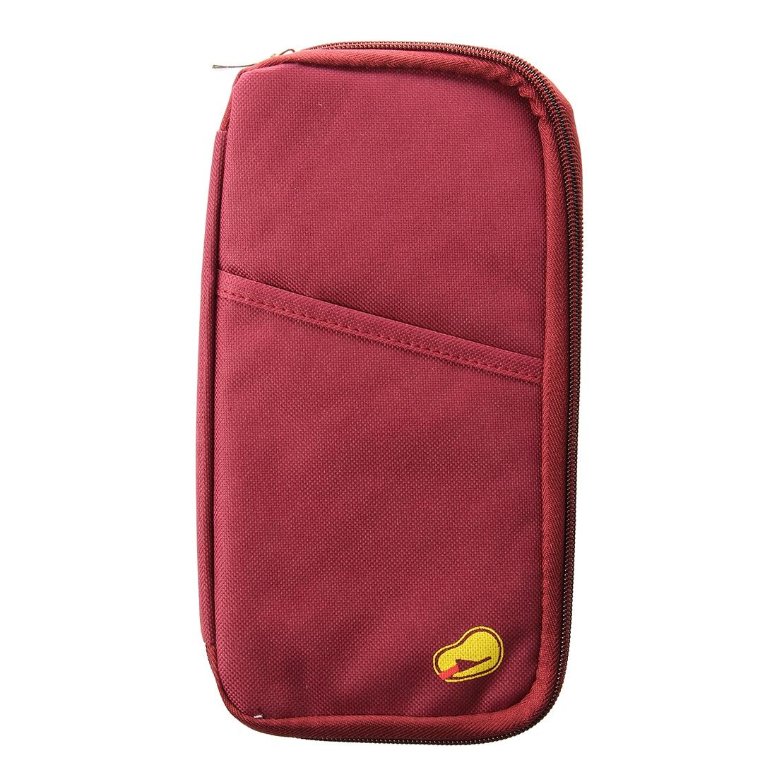 Red Travel Wallet With Closure Zip Document Organiser Passport Ticket Holder