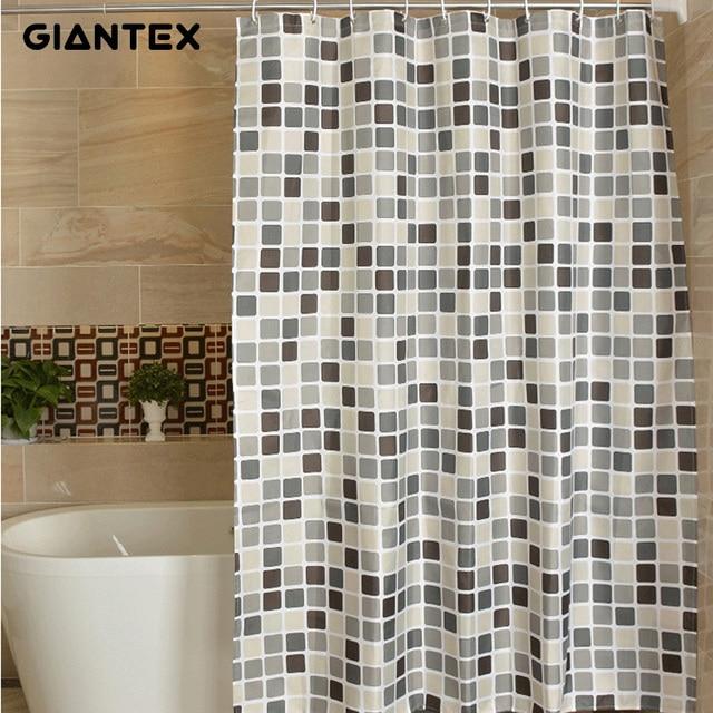 Giantex Plaid Polyester Badkamer Waterdichte Douchegordijnen Met