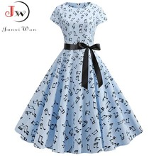 Women Summer Music Note Print Dress 50s 60s Robe Retro Swing Casual Vintage Sleeveless Party Dresses Vestidos Plus Size