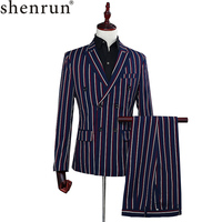 Men's Fashion Slim Fit Suits Blue Stripe Blazer Pants Two Piece Double Breasted Grooms men Casual Wedding Prom Stage Skinny Suit