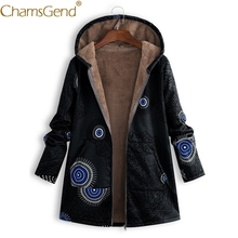 Newly Design Ethnic Style Fashion Women Fleece Overcoat Printing Pocket Hoody Jackets Coats Woman Winter jaqueta feminina 81106