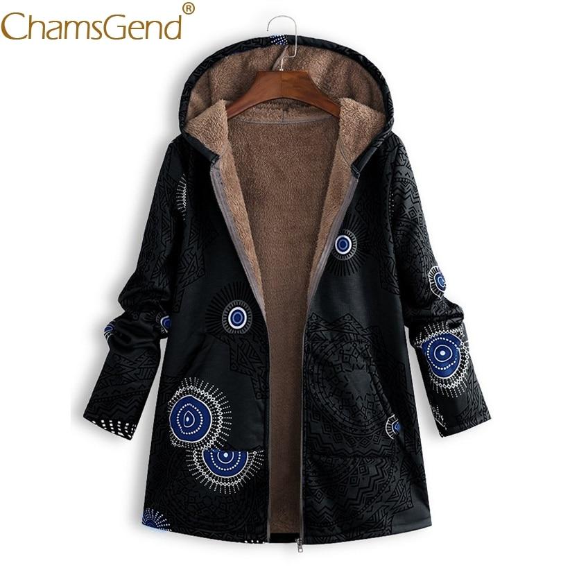 Nuevo Diseño Estilo étnico Moda Mujer Vellón Abrigo Estampado Bolsillo Hoody Chaquetas Abrigos Mujer