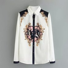 New Spring Summer 2016 Blouses Women Long Sleeve Vintage print shirt Rota flowers casual loose chiffon blouse Lady brand Top