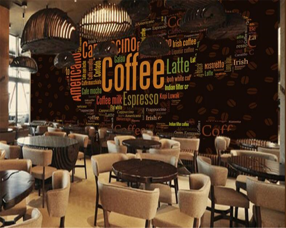 Beibehang custom mural 3d wallpaper alphabet coffee cup for Coffee shop mural