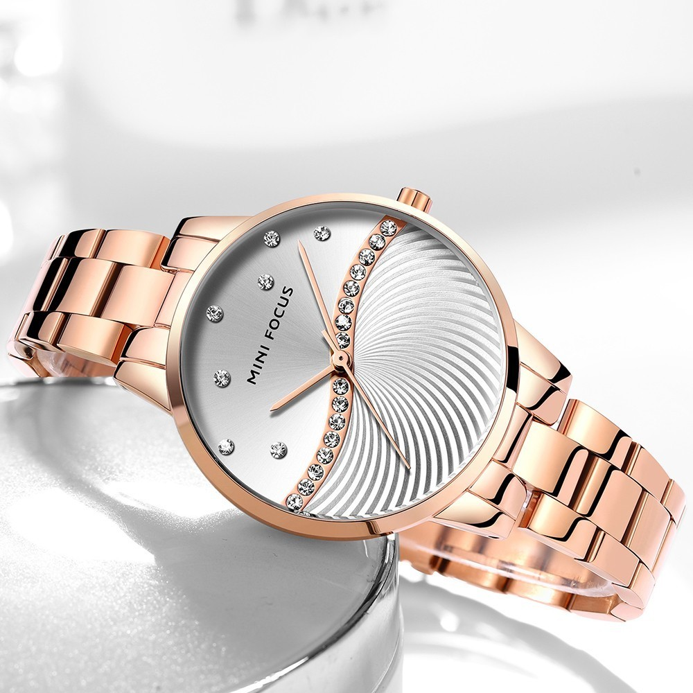 MINIFOCUS Watches Women Fashion Watch 2019 Waterproof Stainless Steel Lady Watch For Woman Clock Casual Dress Ladies Gold Watch